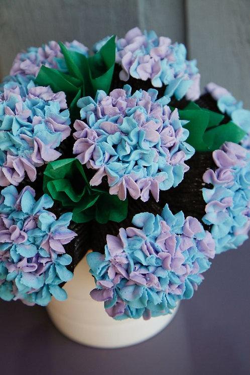 White Bowl Hydrangea Cupcake Bouquet (1dz)