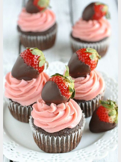 Chocolate Covered Strawberry Cupcakes(1dz)