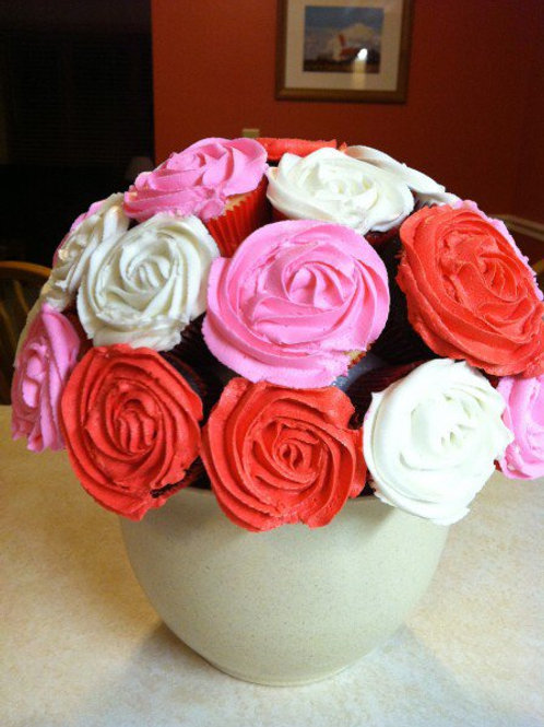 White Bowl Rose Cupcake Bouquet (1dz)