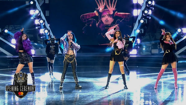 Ellen Kim performing on Pop Stars: League of Legends