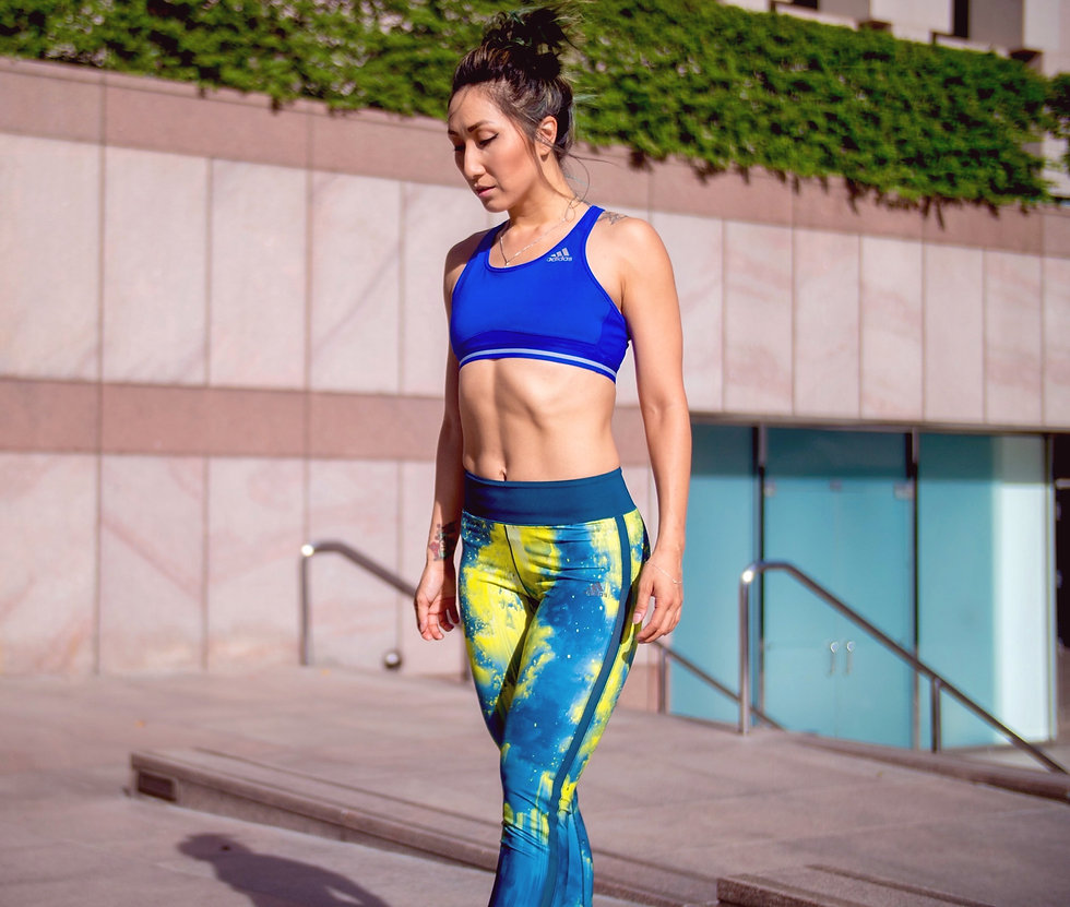 Ellen Kim sponsoring adidas trackpant and bralette