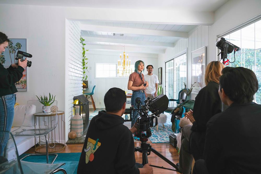 Ellen Kim, Aye Hasegawa, Shaun Evaristo and crew on set