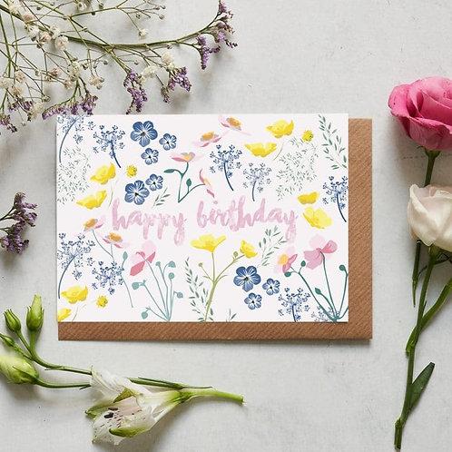Happy Birthday meadow card