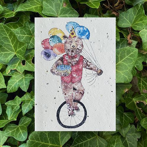 Birthday bear plantable card