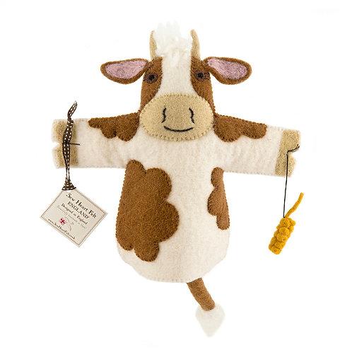 Cow felt hand puppet