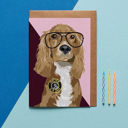 Milo the cocker spaniel card