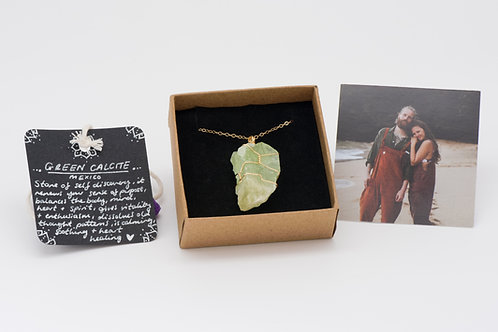 Necklace - green calcite
