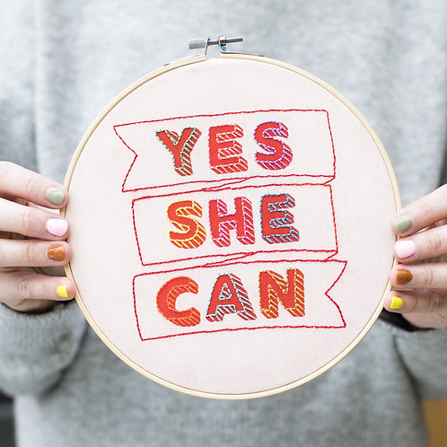 """""""Yes She Can"""" embroidery kit"""