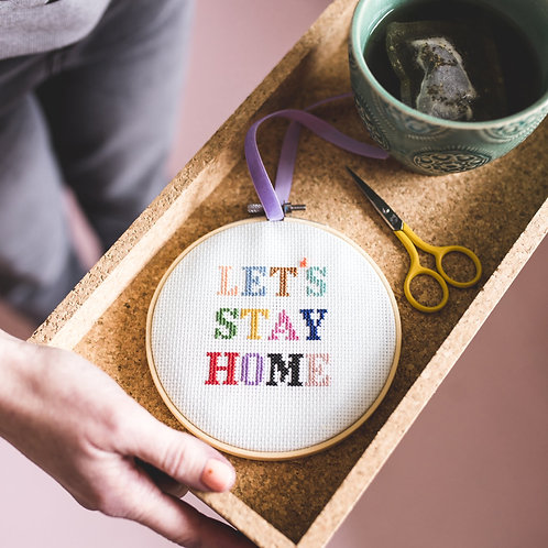 Let's stay at home cross stitch kit