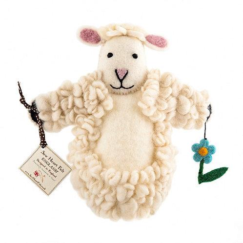 Sheep felt hand puppet