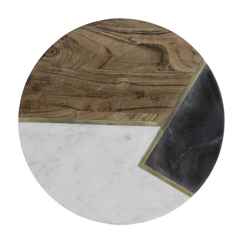 Marble acacia round serving platter