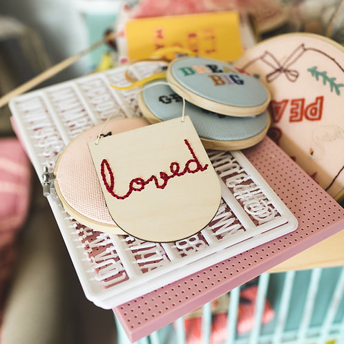 """Loved"" embroidery kit"