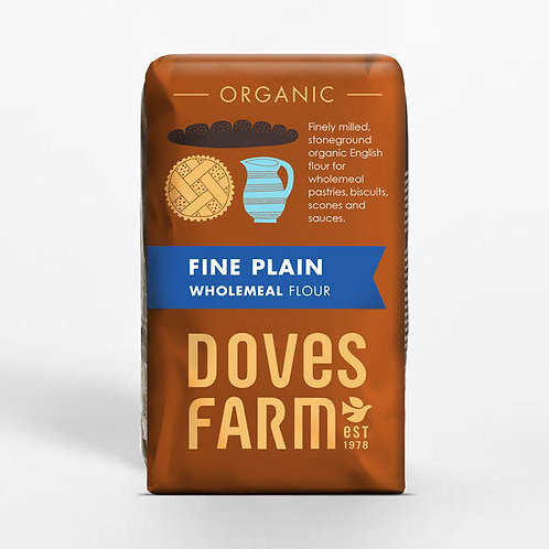 Organic wholemeal plain flour (pre-packed 1kg)