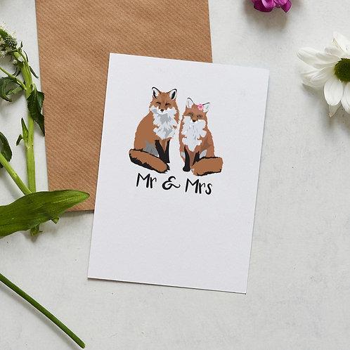 Mr & Mrs fox card