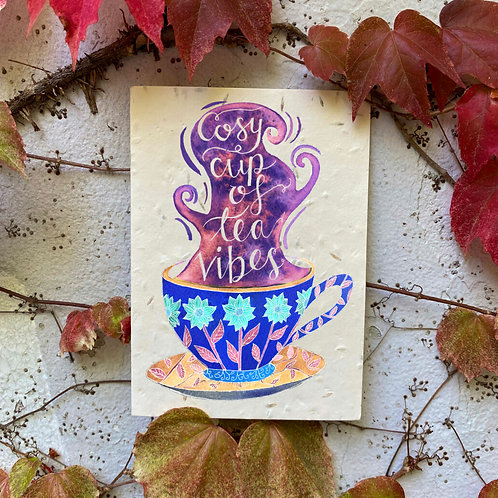 Cosy cup of tea vibes plantable card
