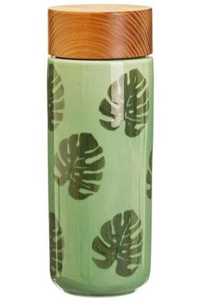 Cheese plant leaf ceramic bottle