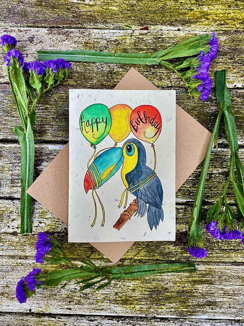 Birthday toucan plantable card