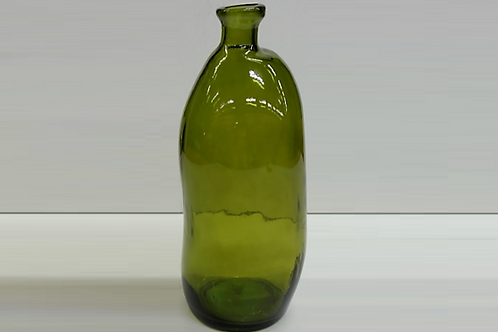 Recycled glass vase - olive green