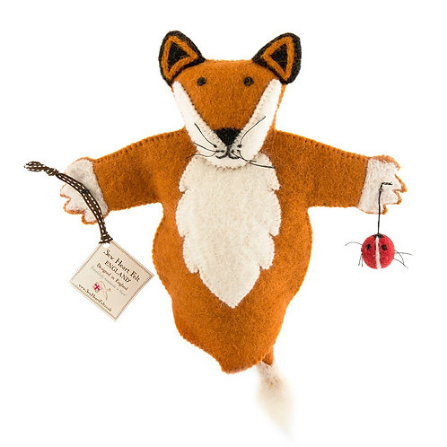 Fox felt hand puppet