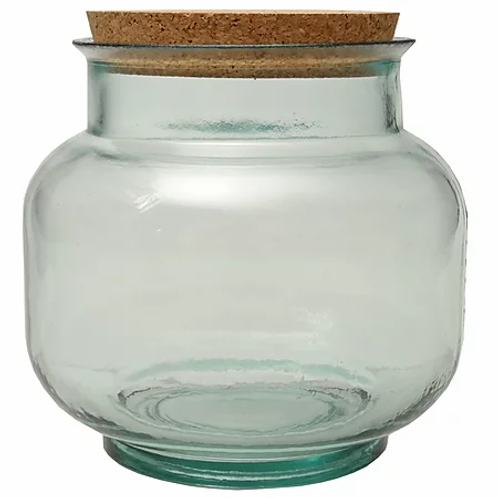 Recycled glass hurricane storage jar - small