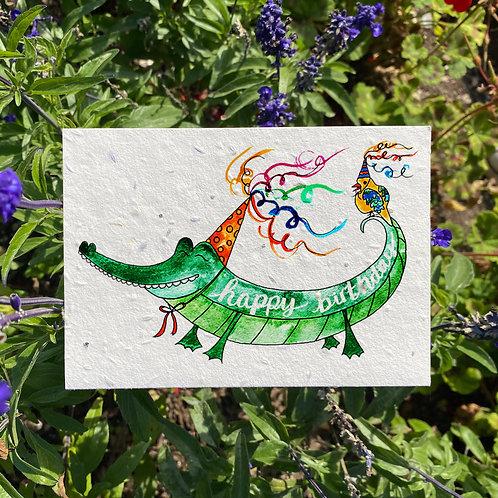 Birthday alligator plantable card