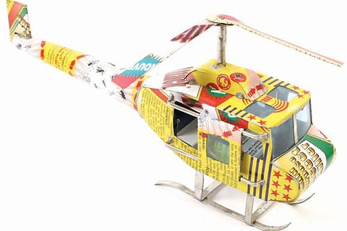 Helicopter made from recycled cans