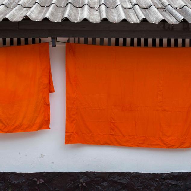 Saffron robes at monastery