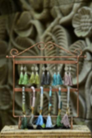 Recyced rope & tassel necklaces & earrings