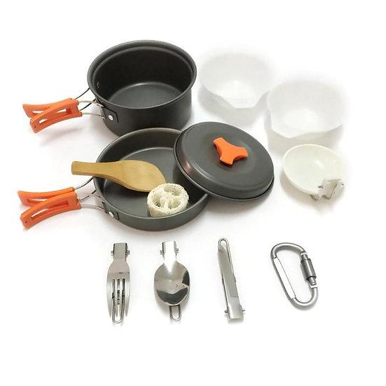 12pcs Cooking Set Outdoor Cookware Aluminum Water Kettle Pot Pan Picnic Utensils