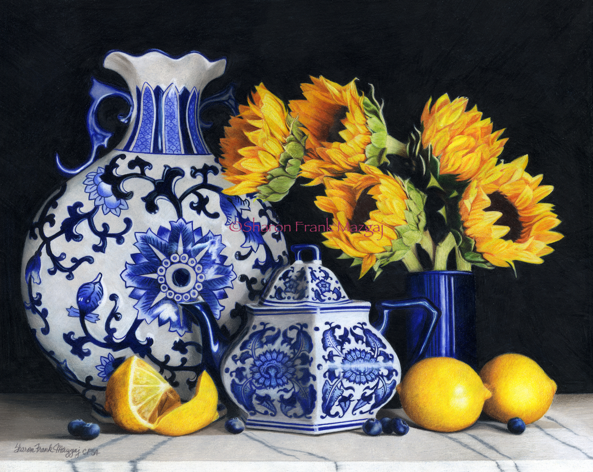 Blue & White Pottery with Sunflowers