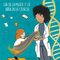 Ilustración para el día de la mujer y la niña en la ciencia