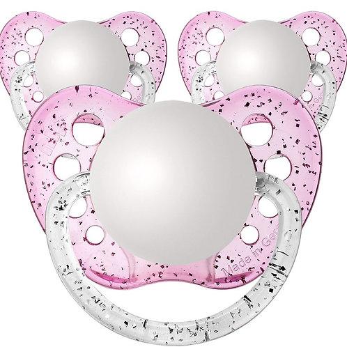 Baby Name Pacifiers - 3 Pk Glitter Pink, Ulubulu, Personalized Pacifiers