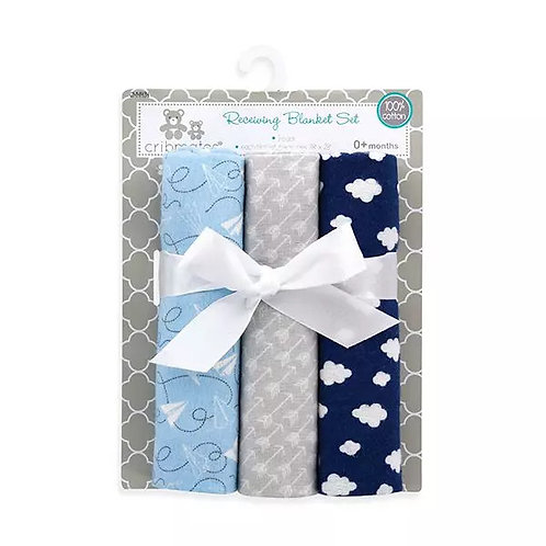 3 Pack Receiving Blankets by CribMates, Blue Clouds