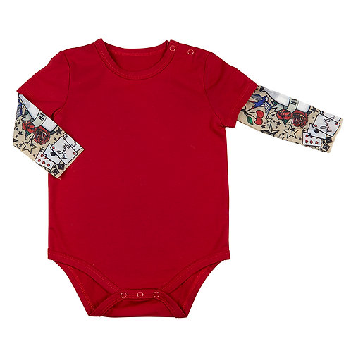 Stephan Baby Tattoo Sleeve Snapshirt - Red