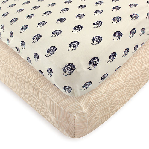 Touched by Nature Organic Hedgehog Crib Sheet 2 Pack Fitted