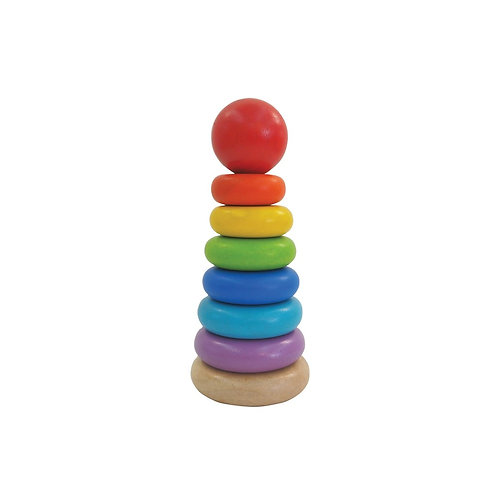 Rainbow wooden stacking ring by Plan Toys