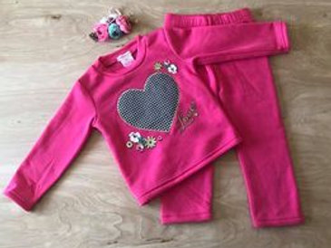 Checkered Love Heart Outfit - 2 piece - Valentine's Day Outfit, dark pink