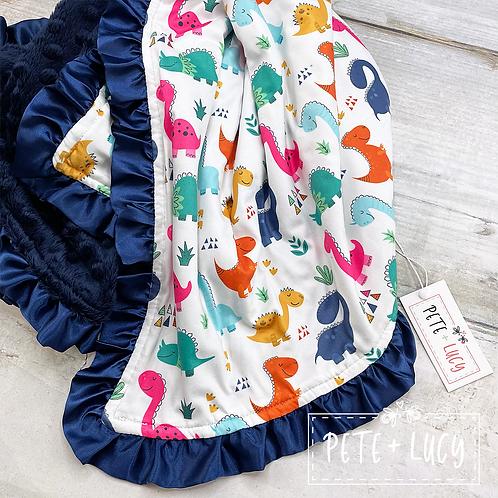 Dino Days Minky Blanket, dinosaur blanket for baby