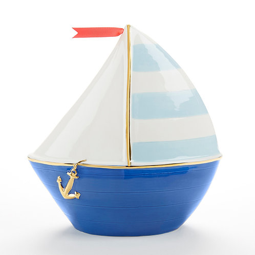 Sailboat Ceramic Coin Bank by Baby Aspen