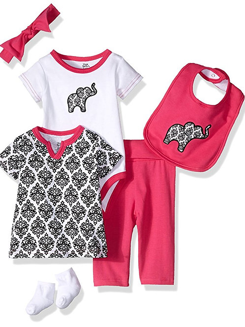 Pink Damask 6 Piece Layette Set for Baby Girl