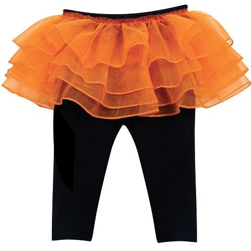 Black Leggings with Orange Tutu