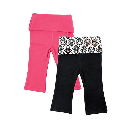 2 Pack Yoga Pants for Baby Girl - Damask Pattern