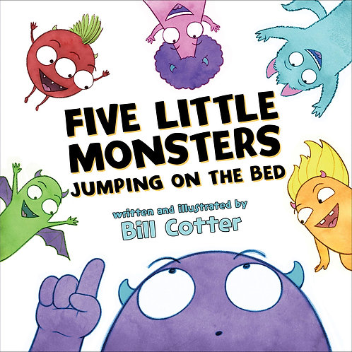 Five Little Monsters Jumping on the Bed Board Book by Bill Cotter