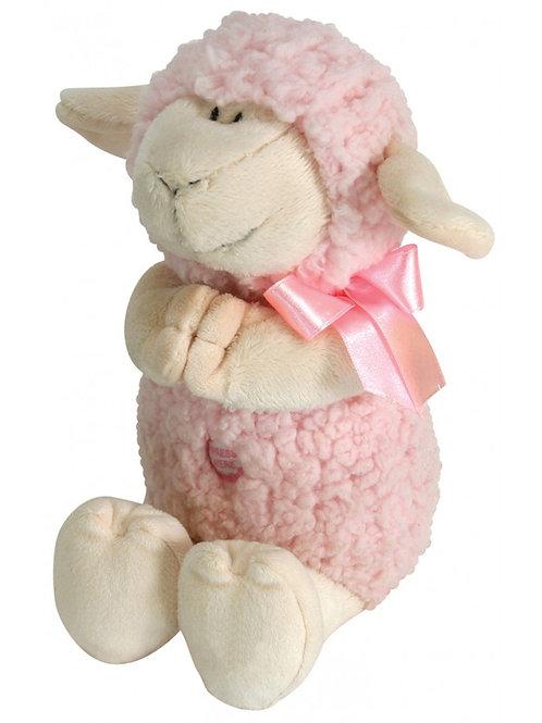 Stephan Baby Woolly Praying Lamb, Pink