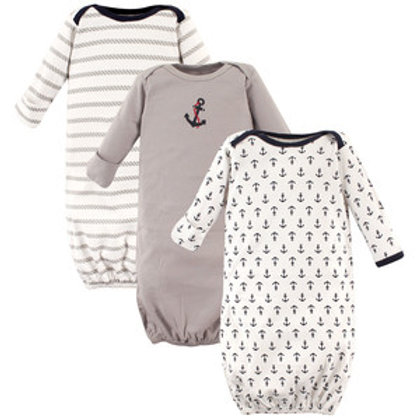 Nautical 3 Pack Infant Gowns