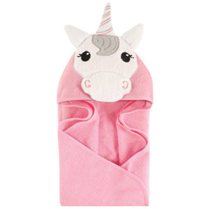Hudson Baby Pink Unicorn Animal Face Hooded Towel
