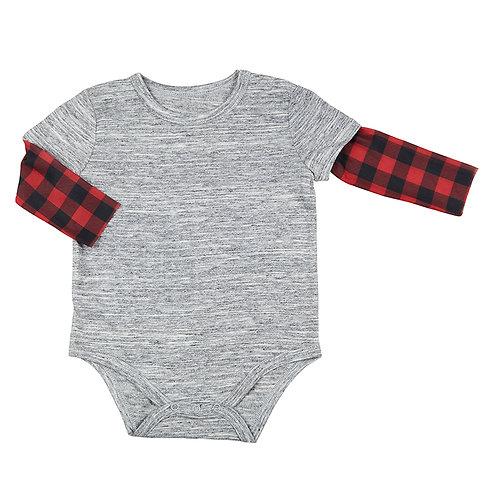 Stephan Baby Buffalo Check Sleeve Snapshirt for Baby