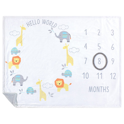 Hudson Baby Milestone Blanket, Hello World Month Milestones