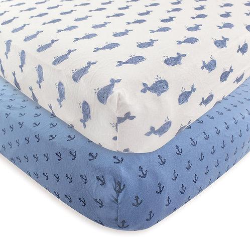Blue Whale Nautical Anchor Crib Sheets