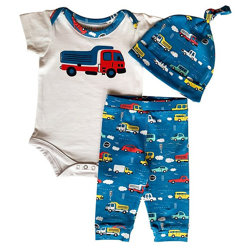 Automobiles Layette for Baby Boy, Cars and Trucks 3 pc Layette